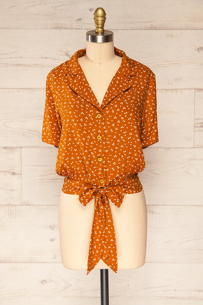 Falkflageet Patterned Orange Short Sleeve Shirt | La petite garçonne  front view