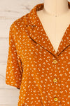 Falkflageet Patterned Orange Short Sleeve Shirt | La petite garçonne  front close-up