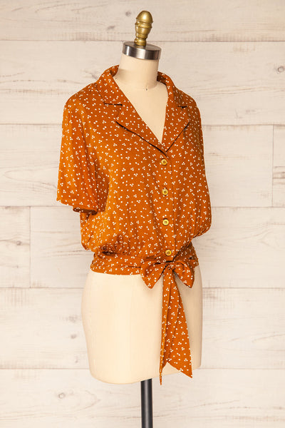Falkflageet Patterned Orange Short Sleeve Shirt | La petite garçonne  side view
