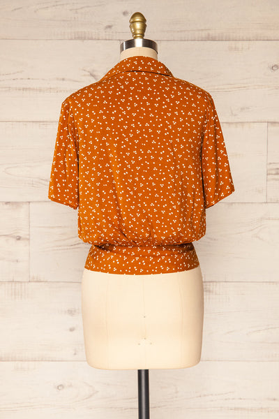 Falkflageet Patterned Orange Short Sleeve Shirt | La petite garçonne  back view