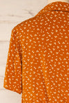 Falkflageet Patterned Orange Short Sleeve Shirt | La petite garçonne  back close-up