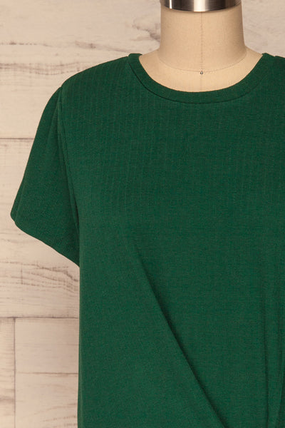 Fallebo Seaweed Green Short Sleeved T-Shirt front close up | La Petite Garçonne