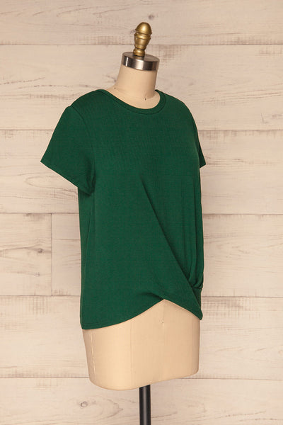 Fallebo Seaweed Green Short Sleeved T-Shirt side view | La Petite Garçonne