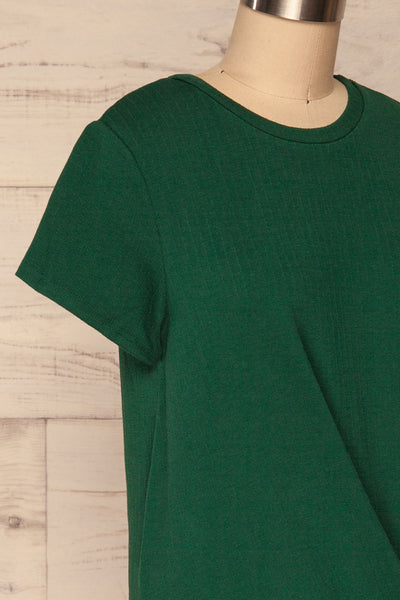 Fallebo Seaweed Green Short Sleeved T-Shirt side close up | La Petite Garçonne
