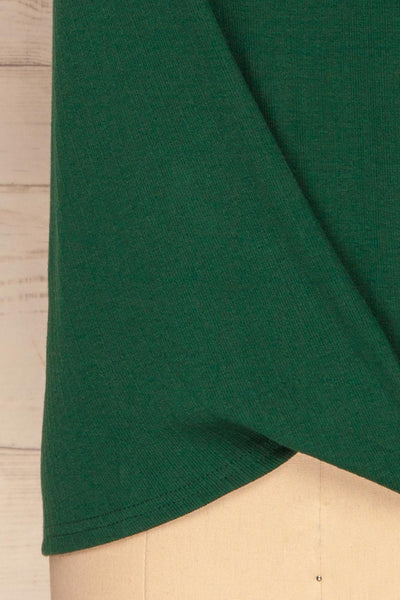 Fallebo Seaweed Green Short Sleeved T-Shirt bottom close up | La Petite Garçonne