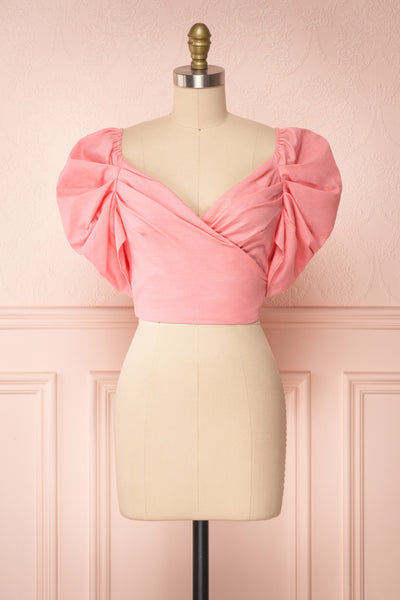 Fallviken Pink Crop Top w/ Puffy Sleeves front view | Boutique 1861