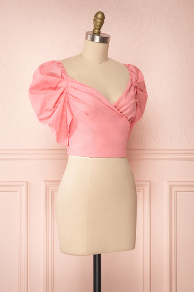 Fallviken Pink Crop Top w/ Puffy Sleeves side view | Boutique 1861