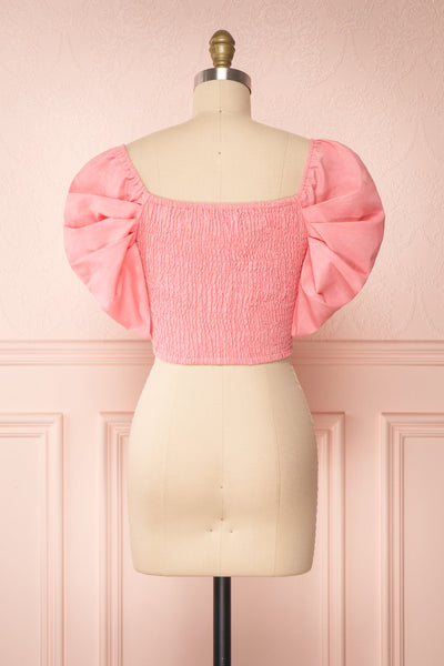 Fallviken Pink Crop Top w/ Puffy Sleeves back view | Boutique 1861