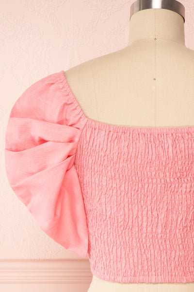 Fallviken Pink Crop Top w/ Puffy Sleeves back close up | Boutique 1861