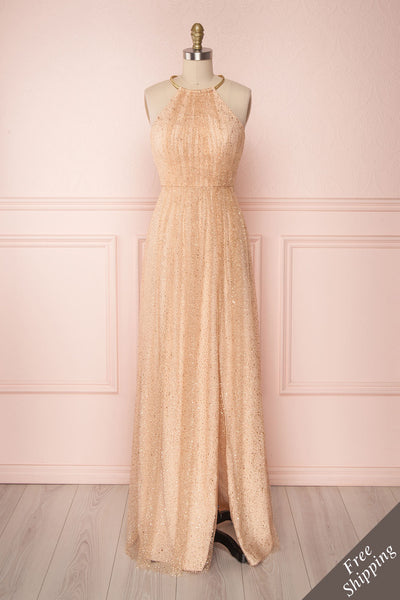 Fanny-Eve Sparkly Gold A-Line Halter Gown | Boutique 1861