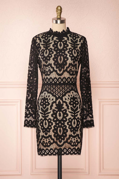 Federica Black & Beige Lace Dress | Robe Noire front view | Boutique 1861