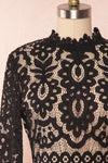 Federica Black & Beige Lace Dress | Robe Noire front close up | Boutique 1861