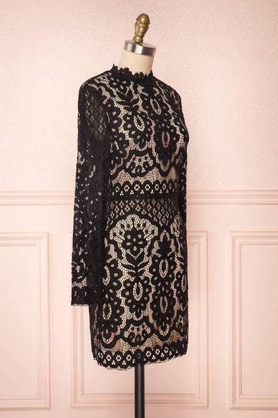 Federica Black & Beige Lace Dress | Robe Noire side view | Boutique 1861