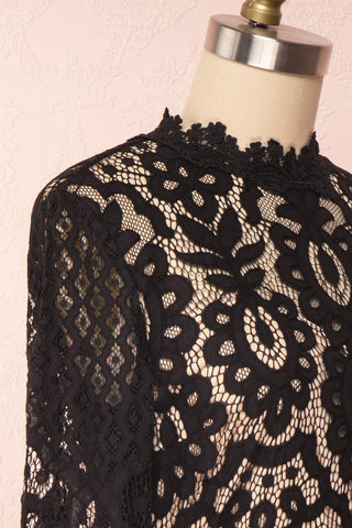 Federica Black & Beige Lace Dress | Robe Noire side close up | Boutique 1861