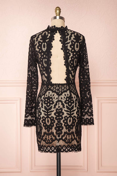 Federica Black & Beige Lace Dress | Robe Noire back view | Boutique 1861