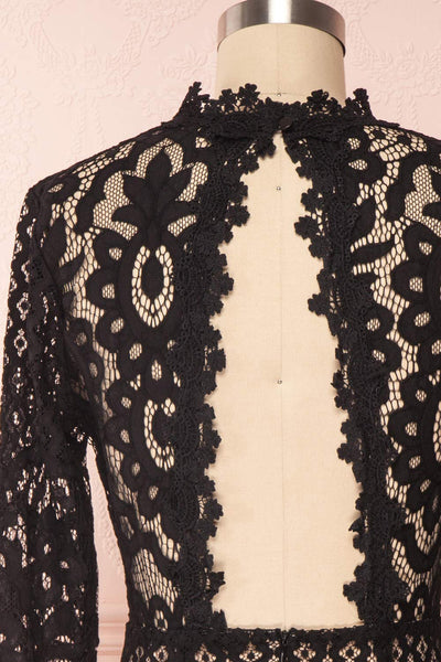 Federica Black & Beige Lace Dress | Robe Noire back close up | Boutique 1861