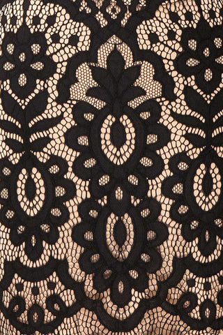 Federica Black & Beige Lace Dress | Robe Noire fabric close up | Boutique 1861