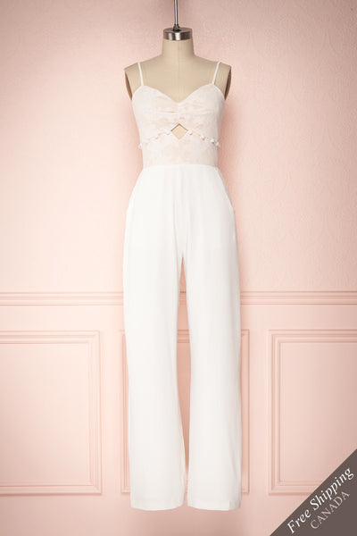 Félycia White Wide Legged Jumpsuit with Lace Bodice | Boudoir 1861