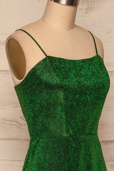 Ferrara Vert Green Sparkly Mermaid Gown side close up | La Petite Garçonne