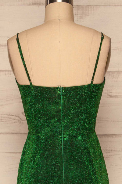Ferrara Vert Green Sparkly Mermaid Gown back close up | La Petite Garçonne