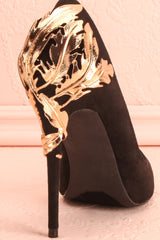 Feuillade Secret Black Stilettos with Golden Heel | Boutique 1861