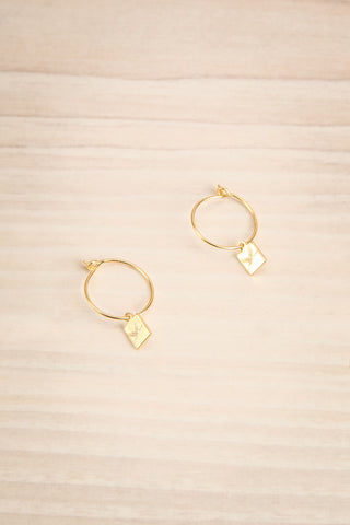 Flesland Or Golden Pendant Hoop Earrings | La Petite Garçonne