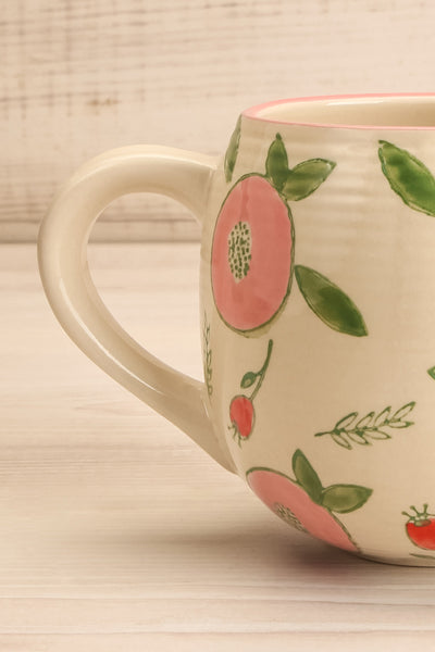 Frappé Beige Mug with Fruits and Leaves | La petite garçonne handle close-up