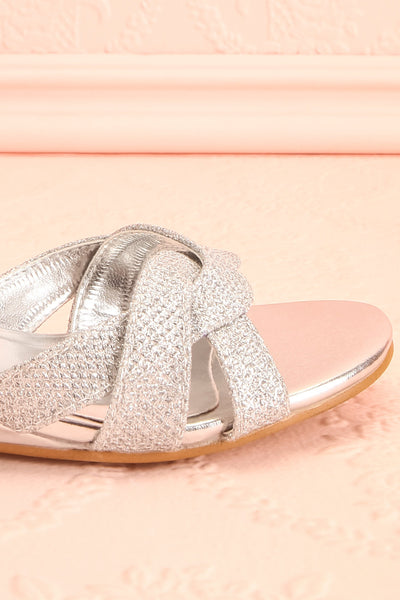 Fraxinelle Silver Sandals | Sandales | Boudoir 1861 side front close-up