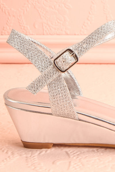 Fraxinelle Silver Sandals | Sandales | Boudoir 1861 side back close-up