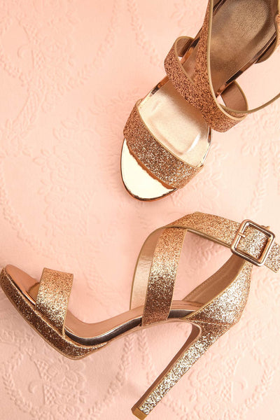 Frehel Gold Glitter High Heeled Sandals | Boutique 1861