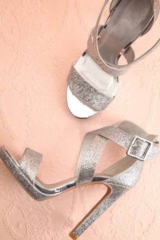 Frehel Silver Glitter High Heeled Sandals | Boutique 1861