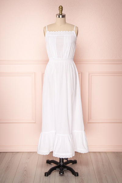 Fritha White Maxi A-Line Summer Dress with Lace | Boutique 1861