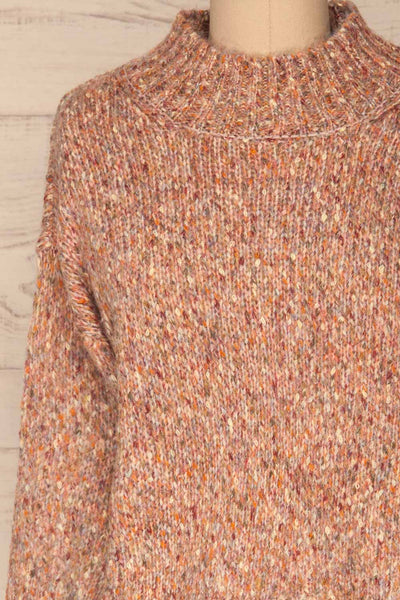 Fritzleen Pink High-Neck Knit Sweater | La Petite Garçonne front close-up