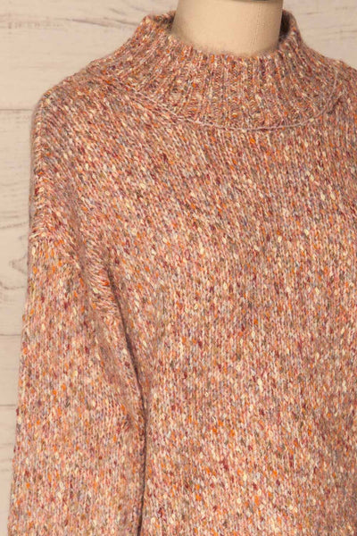Fritzleen Pink High-Neck Knit Sweater | La Petite Garçonne side close-up