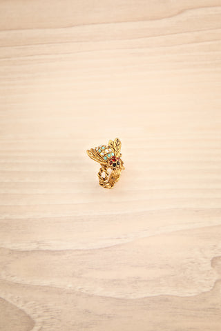 Fugita - Golden colourful crystals ring 1