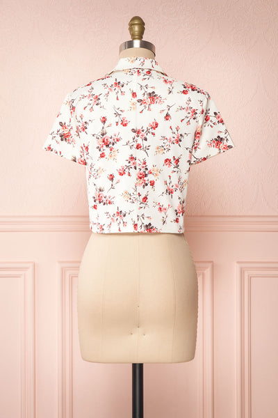 Fuujin White & Pink Floral Buttoned Crop Top back view | Boutique 1861