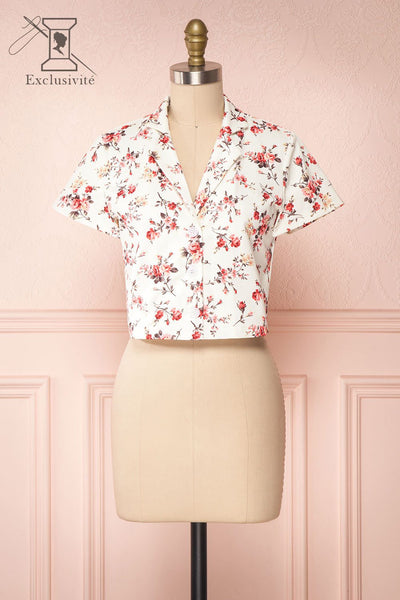 Fuujin White & Pink Floral Buttoned Crop Top front view | Boutique 1861