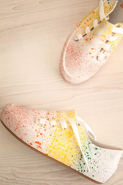 Gabon Dragon Rainbow Splatter Laced Shoes | La Petite Garçonne Chpt. 2 front view