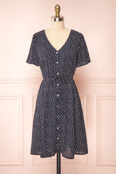 Gaby Navy Patterned Buttoned Midi Dress | Boutique 1861 front view