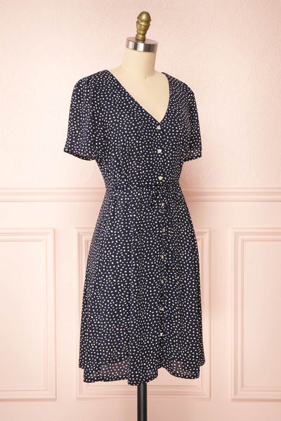 Gaby Navy Patterned Buttoned Midi Dress | Boutique 1861 side view