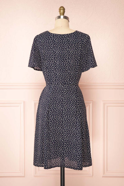 Gaby Navy Patterned Buttoned Midi Dress | Boutique 1861 back view