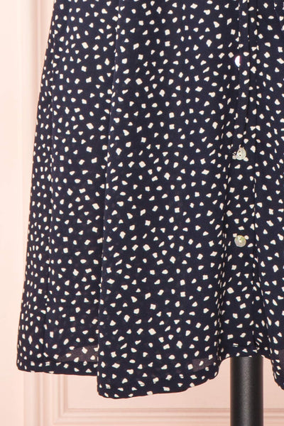 Gaby Navy Patterned Buttoned Midi Dress | Boutique 1861skirt