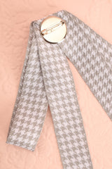 Galea Grey & White Ribbon Bow & Crystal Brooch | Boutique 1861