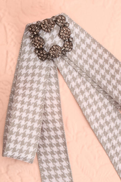 Galea Grey & White Ribbon Bow & Crystal Brooch | Boutique 1861 2