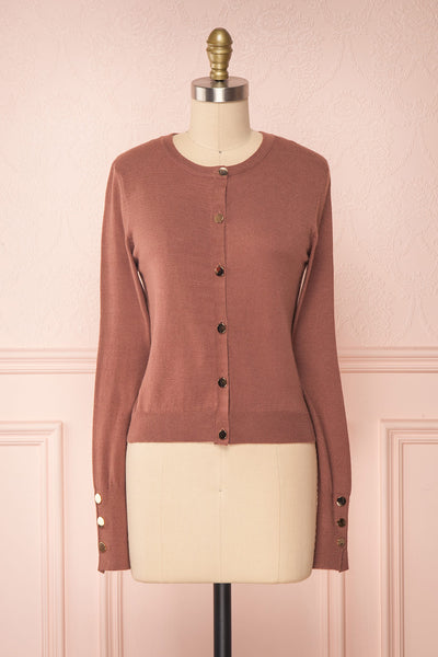 Galina Pink Taupe Button-Up Cardigan | Boutique 1861 front view