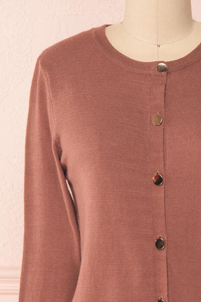 Galina Pink Taupe Button-Up Cardigan | Boutique 1861 front close-up
