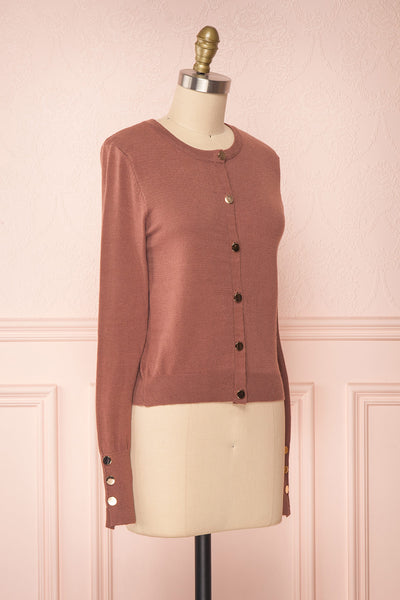 Galina Pink Taupe Button-Up Cardigan | Boutique 1861 side view