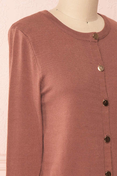 Galina Pink Taupe Button-Up Cardigan | Boutique 1861 side close-up