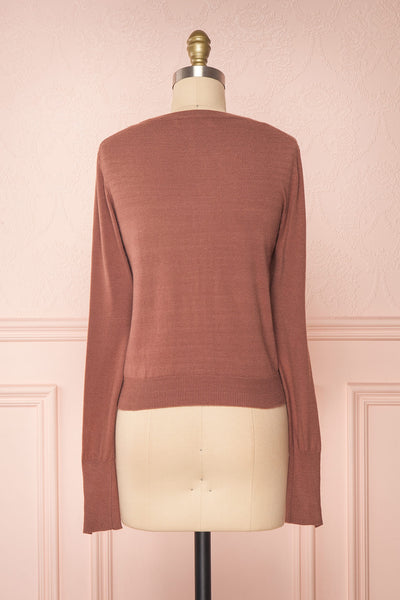 Galina Pink Taupe Button-Up Cardigan | Boutique 1861 back view