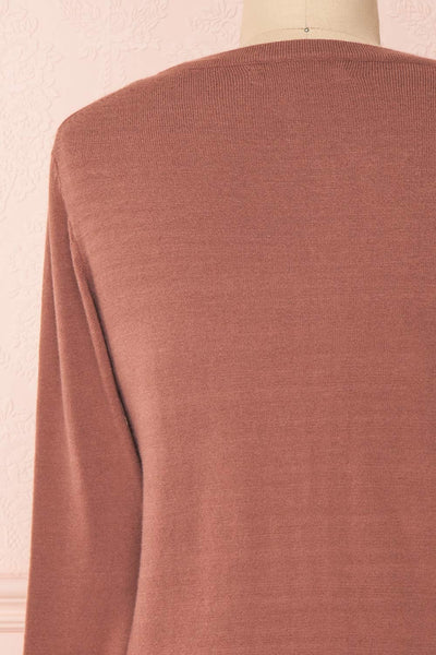 Galina Pink Taupe Button-Up Cardigan | Boutique 1861 back close-up